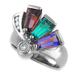 Amethyst & Topaz & Rhodolite 18kt White Gold Ring With Diamonds