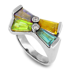Platinum Diamond Ring with Gemstones