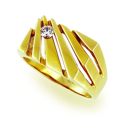 Stunning Mens 14kt Yellow Gold 0.20ct Diamond Ring