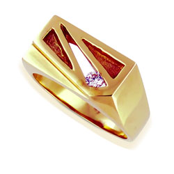 Mens 14kt Yellow Gold High Quality 0.10ct Diamond Ring