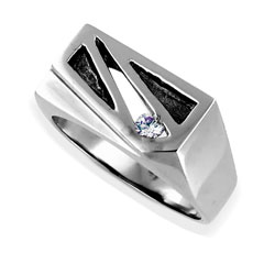 Mens 14kt White Gold High Quality 0.10ct Diamond Ring