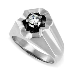 14kt White Gold Mens ring with 0.25ct Diamond