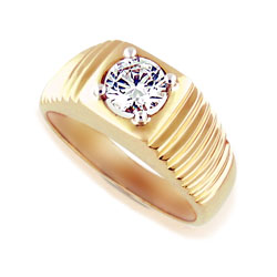 Mens 14kt Yellow-White Gold 1.05ct Diamond Ring