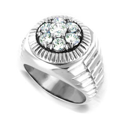 14kt White Gold Mens Ring with 0.50 ct Diamond