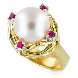 14kt Yellow/White Gold Ring with Pearl and Rubies