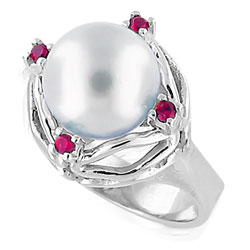 10 mm Pearl and 18kt White Gold Ring with 4 Rubies