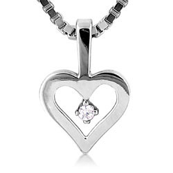 Unique 18kt White Gold Heart Pendant