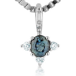 Sophisticated 14kt White Gold Blue Sapphire and Diamond Pendant