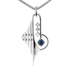 Striking 18kt White Gold Sapphire and Diamond Pendant