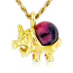 14kt Yellow Gold Rhodonite Ball Remarkable Hippopotamus Pendant
