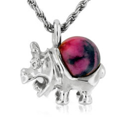 14kt White Gold Rhodonite Ball Marvellous Hippopotamus Pendant