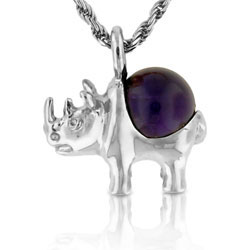 Silver 10mm Round Violet Amethyst Ball Pendant