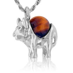 Unique 18kt White Gold Buffalo Pendant