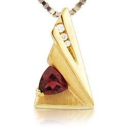 14kt Yellow Gold Triangular Pendant With Rhodolite & Brilliant Cut Diamonds