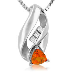 Sizzling Citrine Diamond 18kt White Gold Pendant