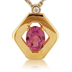 Gleaming 14kt Yellow Gold Diamond Shaped Pendant with Oval Rhodolite & Diam