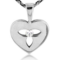 Beautiful 14kt White Gold Heart Diamond Pendant
