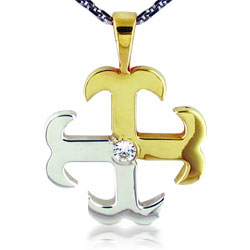 18kt Yellow-White Gold Stunning Cross Pendant with Round-cut Diamond