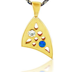 14kt Yellow Gold Pendant With Sapphire & Diamond