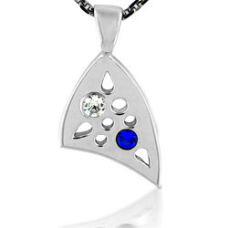 Ultra Modern Diamond & Sapphire Pendant in 18kt White Gold