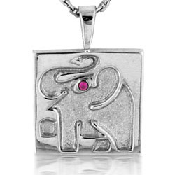 14kt White Gold Elephant Design Pendant with Ruby