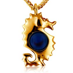 14kt Yellow Gold 10mm Blue Round Agate Ball Gemstone Pendant