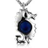 14kt White Gold 10mm Blue Round Agate Ball Gemstone Pendant